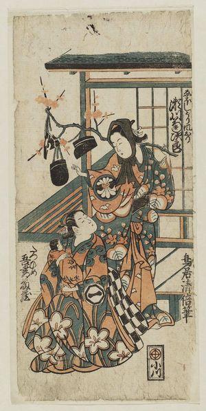 鳥居清倍: Actors Segawa Kikujirô as the Hat Vendor (Eboshi-uri) Kazeori and Azuma Tôzô as Tatsuhime - ボストン美術館