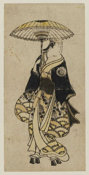 Okumura Toshinobu: Actor holding umbrella - Museum of Fine Arts