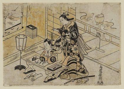 Torii Kiyomasu I: Actors Sanjô Kantarô as Oshichi and Ichimura Takenojô as Kichisaburô - Museum of Fine Arts