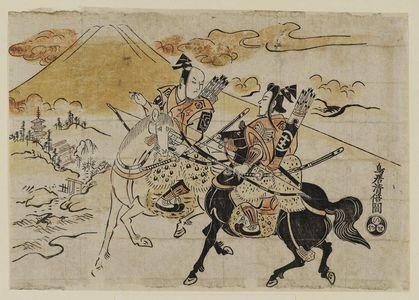 Torii Kiyomasu I: Actors Sodeoka Shôtarô as Soga no Gorô and Ichikawa Danjûrô II as Soga no Jûrô - Museum of Fine Arts