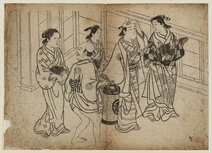 Nishikawa Sukenobu: Procession of 3 women and 2 men - Museum of Fine Arts