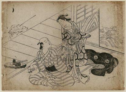 Nishikawa Sukenobu: Man playing samisen for lady - Museum of Fine Arts