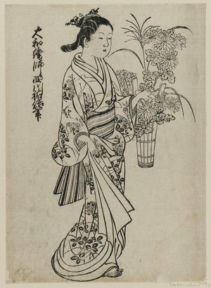 西川祐信: A woman carrying a bucket of flowers. Ink. From the album: (Yamato Furyu) Nishikawa Yasa Sugata. Ill. no. 8. - ボストン美術館