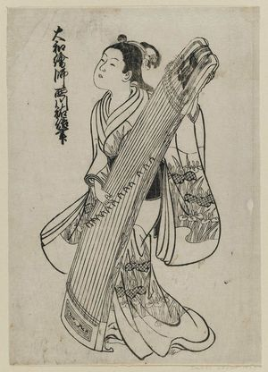 Nishikawa Sukenobu: A girl standing and holding a koto. Illustration No. 12 from