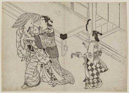 Hasegawa Mitsunobu: Courtesan clinging to departing client - Museum of Fine Arts