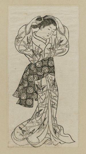 西川祐信: Girl standing arranging her hair. Ink. From Ehon Asakayama, left side of double page 8 - ボストン美術館