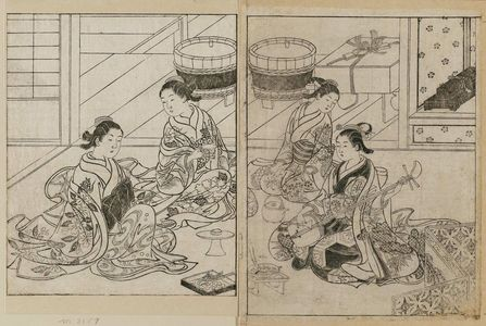 Nishikawa Sukenobu: Three courtesans having a banquet, with a kamuro attending with the choshi (sake-pot). From Ehon Tokiwagusa, Vol. 3, double p. illus. No. 15. - Museum of Fine Arts