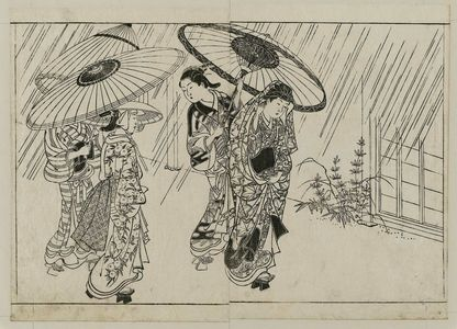 Nishikawa Sukenobu: Four women with umbrellas in a shower. From Ehon Tokiwagusa, vol. 2, double page illus. No. 14 - Museum of Fine Arts
