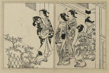 Nishikawa Sukenobu: Three courtesans and two kamuro on a street. From Ehon Tokiwagusa, vol. 3, double page illus. No. 8 - Museum of Fine Arts