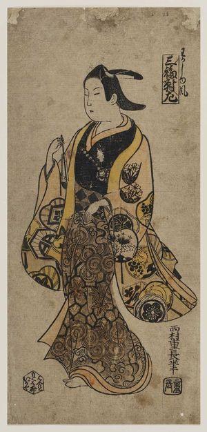 西村重長: In the Style of a Young Man (Wakashû fû), Left Sheet of a Triptych (Sanpukutsui hidari) - ボストン美術館
