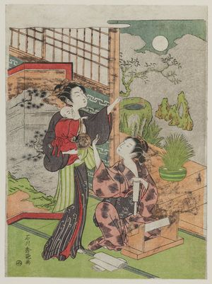 Ishikawa Toyonobu: Women and Baby Admiring Autumn Moon - Museum of Fine Arts