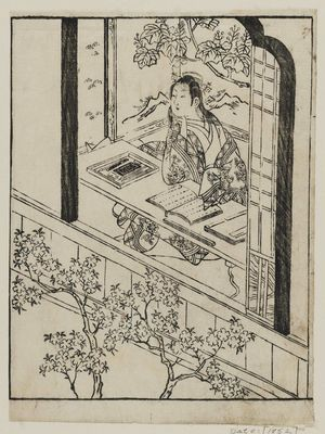 Ishikawa Toyonobu: A poetess looks out the window - Museum of Fine Arts
