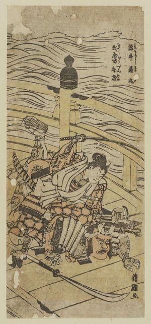 鳥居清経: Minamoto no Ushiwakamaru and Musashibo Benkei on Gojo Bridge - ボストン美術館