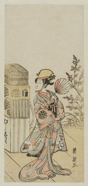 Torii Kiyotsune: Actor Nakamura Tomijûrô as an Insect Vendor (Mushi-uri) - Museum of Fine Arts