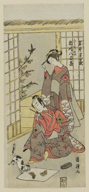 鳥居清経: Actors Iwai Hanshiro and Ichikawa Yaozo - ボストン美術館