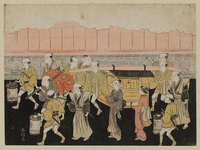 Suzuki Harunobu: The Bride Riding in the Palanquin (Koshi-iri), sheet 3 of the series Marriage in Brocade Prints, the Carriage of the Virtuous Woman (Konrei nishiki misao-guruma), known as the Marriage series - Museum of Fine Arts