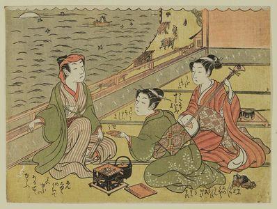 磯田湖龍齋: Yujo serving tea to man, attendant playing samisen; Maneemon - ボストン美術館