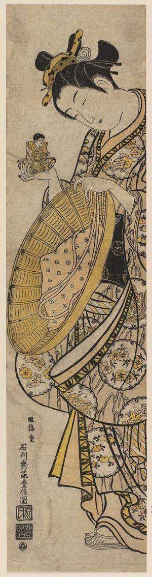 Ishikawa Toyonobu: Woman with Doll and Straw Hat - Museum of Fine Arts
