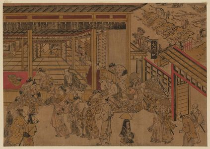 Okumura Masanobu: Original Perspective Picture of the Great Gate and Naka-no-chô in the Shin Yoshiwara (Shin Yoshiwara Ômonguchi Naka-no-chô uki-e kongen) - Museum of Fine Arts