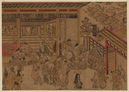 奥村政信: Original Perspective Picture of the Great Gate and Naka-no-chô in the Shin Yoshiwara (Shin Yoshiwara Ômonguchi Naka-no-chô uki-e kongen) - ボストン美術館