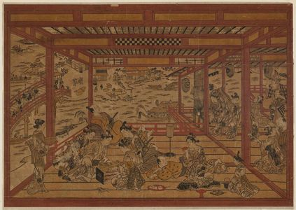 Okumura Masanobu: Cooling off at Ryôgoku Bridge, a Large Perspective Picture (Ryôgoku-bashi yûsuzumi ô-uki-e) - Museum of Fine Arts