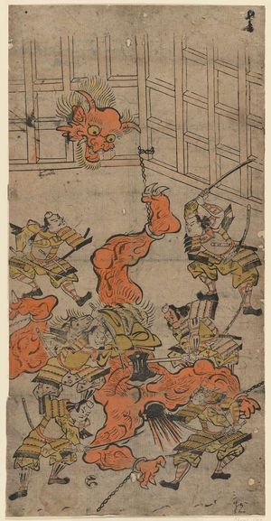 Torii Kiyomasu I: Yorimitsu and His Retainers Killing the Shutendôji, No. 6 from an untitled series of the adventures of Yorimitsu - Museum of Fine Arts