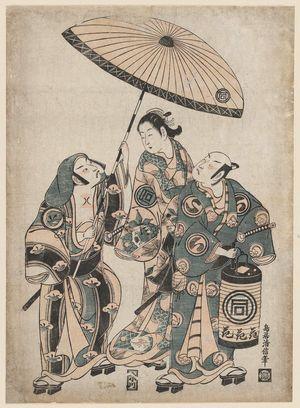鳥居清信: Actors Sanokawa Ichimatsu, Sawamura Sojuro II, and Fujikawa Heikuro - ボストン美術館