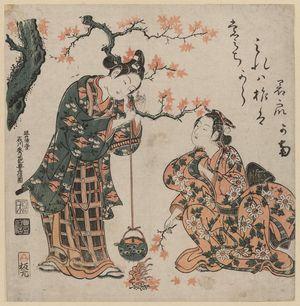 Ishikawa Toyonobu: Young Couple Burning Maple Leaves to Heat Sake - Museum of Fine Arts