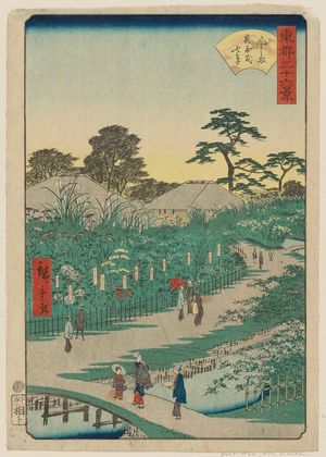 Utagawa Hiroshige II: Autumn Flowers in the Garden at Mukôjima (Mukôjima hanayashiki nanakusa), from the series Thirty-six Views of the Eastern Capital (Tôto sanjûrokkei) - Museum of Fine Arts