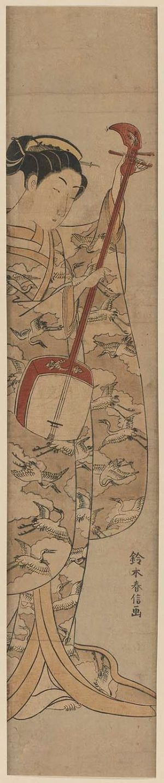 Suzuki Harunobu: Young Woman Tuning a Shamisen - Museum of Fine Arts