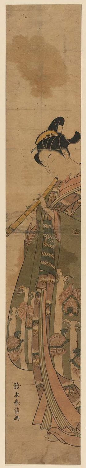 Suzuki Harunobu: Young Man Playing the Shakuhachi - Museum of Fine Arts