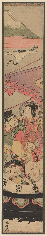 鈴木春信: The Seven Gods of Good Fortune in the Treasure Boat, with a Crane and Mount Fuji - ボストン美術館