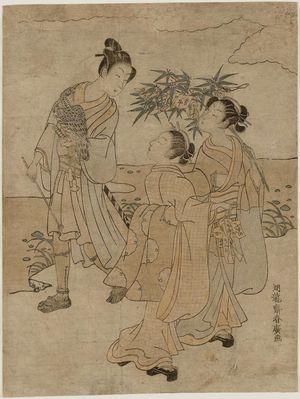 磯田湖龍齋: Young Man with a Falcon and Two Women with Tanabata Festival Decorations - ボストン美術館
