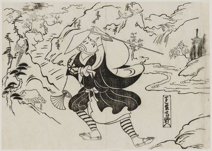 奥村政信: Renshô Going to Mt. Kôya (Renshô Kôya-iri), from the series Famous Scenes from Japanese Puppet Plays (Yamato irotake) - ボストン美術館