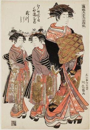 磯田湖龍齋: Takigawa of the Tamaya in Edo-machi Nichôme, kamuro Kochô and Kiyosa, from the series Models for Fashion: New Year Designs as Fresh as Young Leaves (Hinagata wakana no hatsu moyô) - ボストン美術館