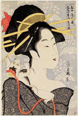 鳥高斎栄昌: Motozue of the Daimonjiya, from the series Contest of Beauties of the Pleasure Quarters (Kakuchû bijin kurabe) - ボストン美術館