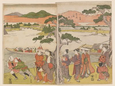 Katsukawa Shunzan: Visiting the Hachiman Shrine on the Banks of the Yodo River, a Triptych (Sanmaitsuzuki, Yodogawa tsutsumi Hachiman mairi no zu) - Museum of Fine Arts