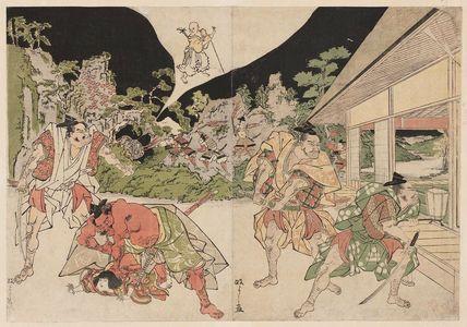 北尾政美: Minamoto Yorimitsu (Raikô) and His Retainers Attacking the Earth Spider (Tsuchigumo) - ボストン美術館