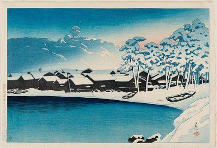 川瀬巴水: Dawn Snow at the Port of Ogi on Sado Island (Yuki no akebono [Sado Ogi minato]), from the series Souvenirs of Travel II (Tabi miyage dai nishû) - ボストン美術館
