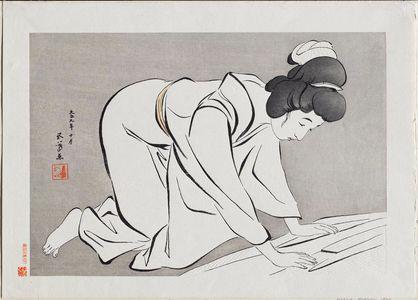橋口五葉: Woman Folding Kimono - ボストン美術館