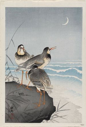 Ohara Koson: Plovers and Waves - Museum of Fine Arts