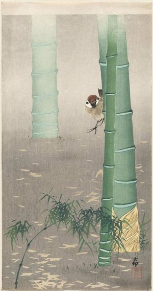 Ohara Koson: Sparrow and Bamboo Stalks - Museum of Fine Arts