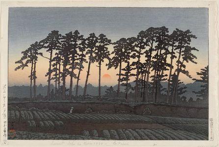 川瀬巴水: Ichinokura at Ikegami, Evening (Ikegami Ichinokura [sekiyo]), from the series Twenty Views of Tokyo (Tôkyô nijûkei) - ボストン美術館
