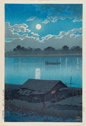 川瀬巴水: Moon on the Arakawa River in Akabane (Arakawa no tsuki [Akabane]), from the series Twenty Views of Tokyo (Tôkyô nijûkei) - ボストン美術館