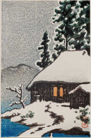 Kawase Hasui: Farmhouse Under Snowy Trees at Evening - Museum of Fine Arts