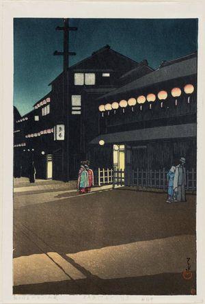 川瀬巴水: Evening at Sôemon-chô in Osaka (Ôsaka Sôemon-chô no yû), from the series Collected Views of Japan II, Kansai Edition (Nihon fûkei shû II Kansai hen) - ボストン美術館