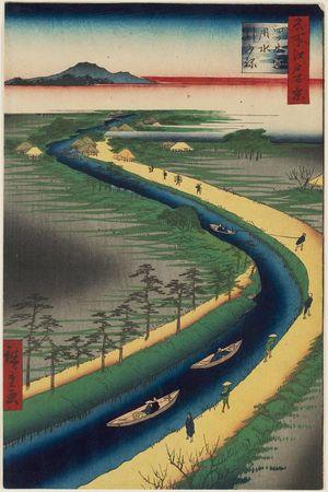 Utagawa Hiroshige: Towboats along the Yotsugi-dori Canal (Yotsugi-dôri yôsui hikifune), from the series One Hundred Famous Views of Edo (Meisho Edo hyakkei) - Museum of Fine Arts