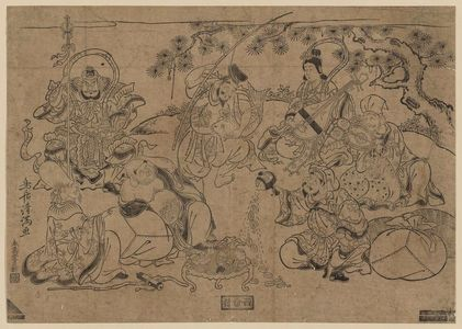 Torii Kiyomitsu: The Seven Gods of Good Fortune (Shichifukujin) Holding a Party under a Pine Tree - Museum of Fine Arts