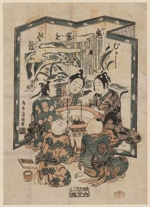 Torii Kiyohiro: Five boys around a hibachi - Museum of Fine Arts