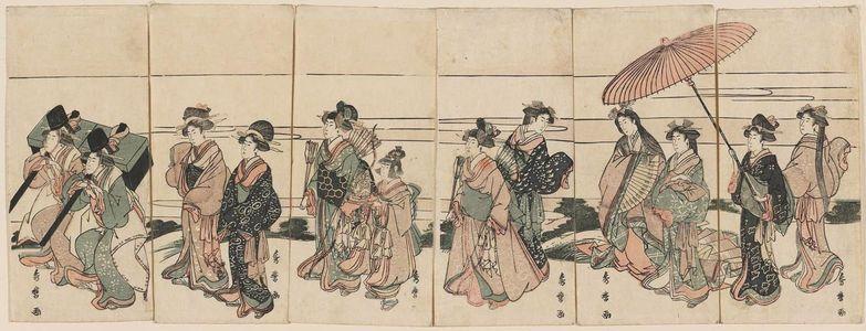 喜多川秀麿: Women Imitating an Imperial Procession - ボストン美術館